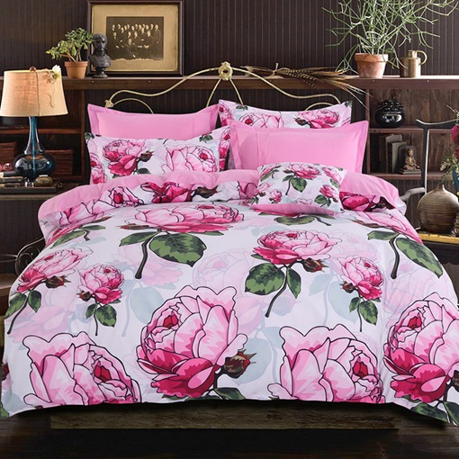 Floral Peony Plant Four-Piece Bedding Set