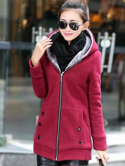 Plain Hooded Thicken Women's Overcoat