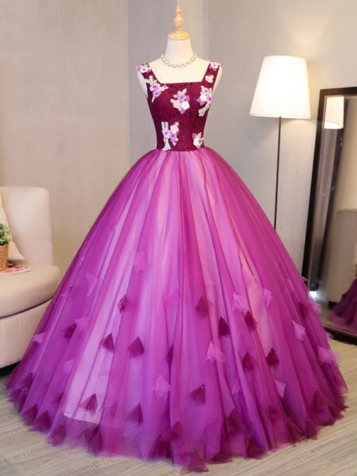 Appliques Flowers Lace Square Floor-Length Quinceanera Dress