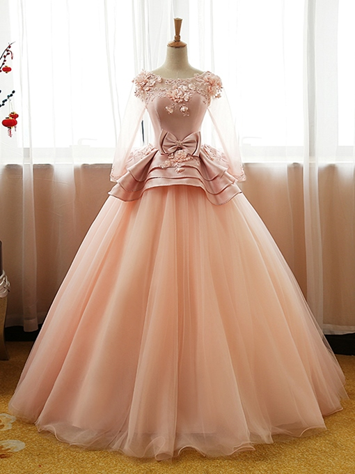 Bowknot Flowers Pick-Ups Floor-Length Quinceanera Dress