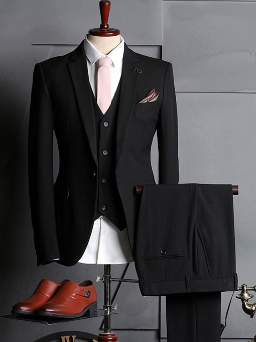 Three Piece Solid Color Plain Men's Dress Suit