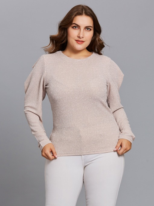 Plain Plus Size Long Sleeve Women's Blouse