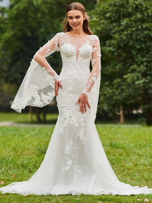 Illusion Neck Appliques Wedding Dress with Sleeve