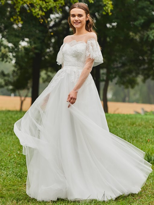 Sheer Neck Appliques Long Sleeves Wedding Dress