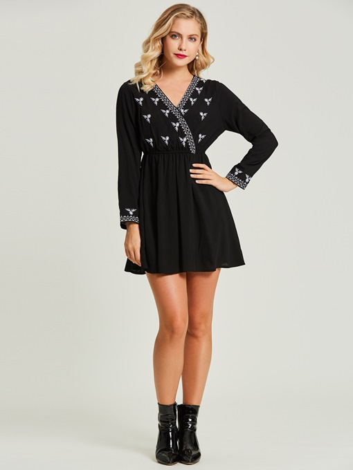 Floral Embroideried Pullover Women's A-Line Dress