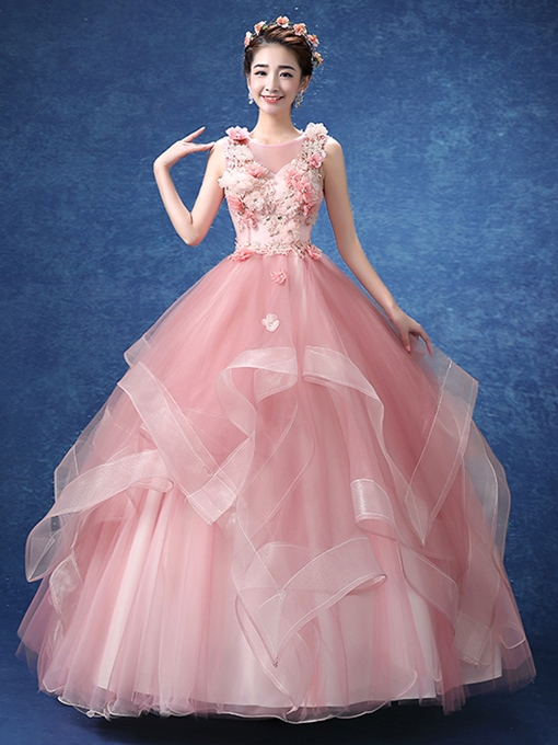 Beaded Flowers Pick-Ups Ball Gown Quinceanera Dress