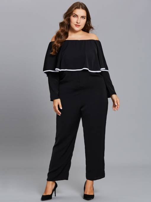 Plus Size Slash Neck Falbala Women's Jumpsuits