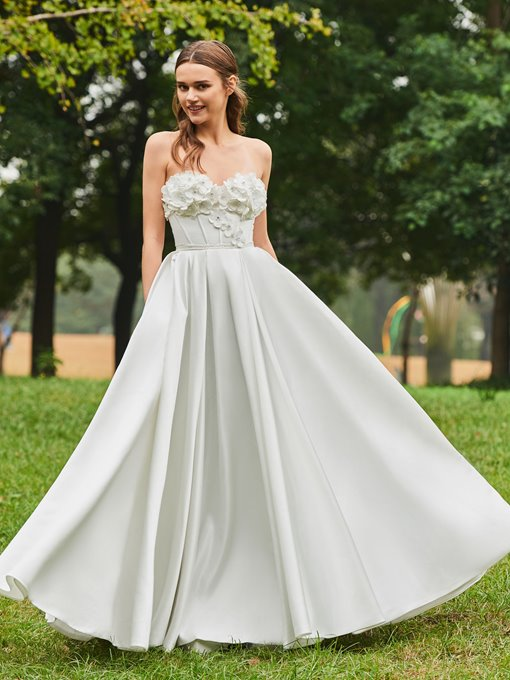 Strapless Flowers A-Line Wedding Dress