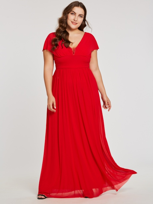 V Neck Zipper-Up A Line Red Evening Dress