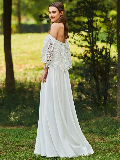 Off the Shoulder Lace Top Beach Wedding Dress