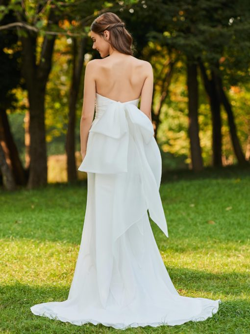 Bowknot Back Strapless Wedding Dress