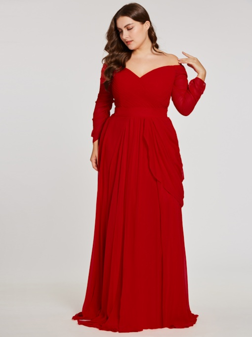 Off-the-Shoulder Long Sleeves A Line Evening Dress