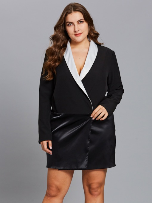 Plus Size Black V Neck Women's Long Sleeve Dress
