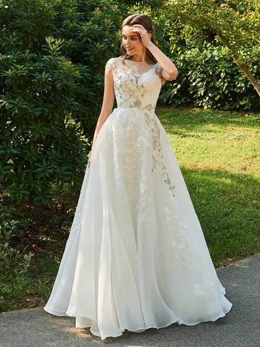 Cap Sleeve Beaded Lace Garden Wedding Dress