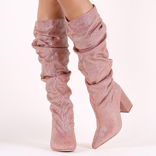 Pink Shoes Chunky Heel Ladies Knee High Boots