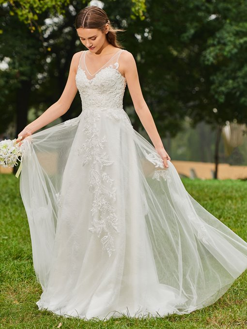 A-Line Beaded Appliques Wedding Dress