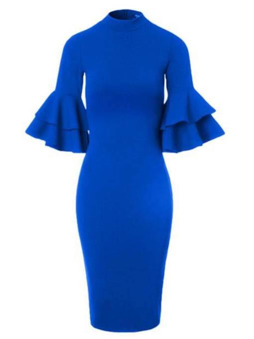 Bell Sleeve Blue Women's Bodycon Dress
