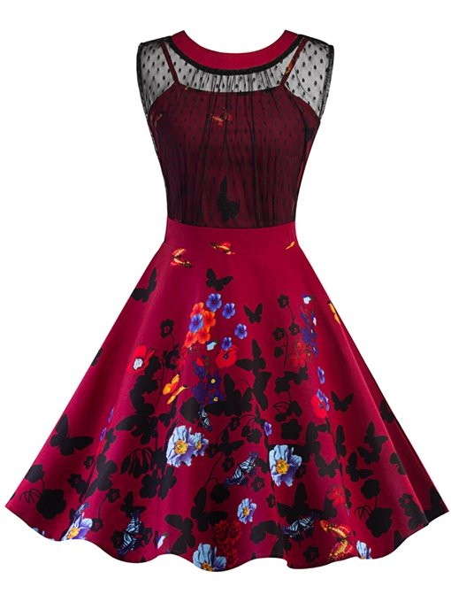 Red Sleeveless Butterfly Pattern Women's Day Dress