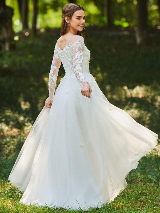 Appliques Beaded Long Sleeves Garden Wedding Dress