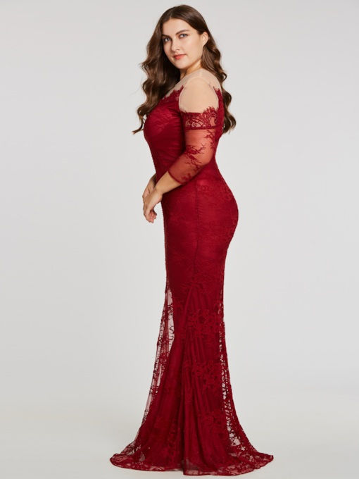 Scoop Neck Long Sleeves Mermaid Evening Dress