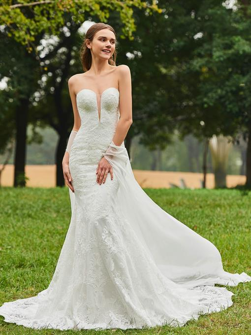 Strapless Wedding Dresses, Simple Strapless Lace Beach Wedding Gowns ...