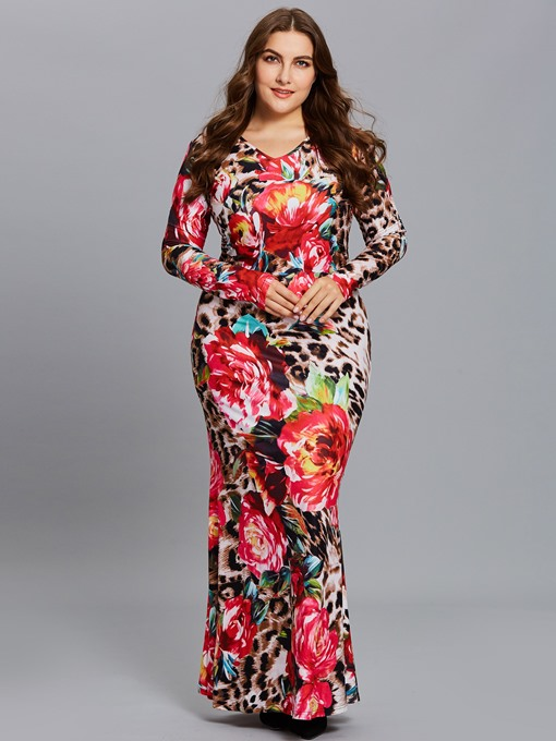 Plus Size Back Zipper Leopard Women's Maxi Dress
