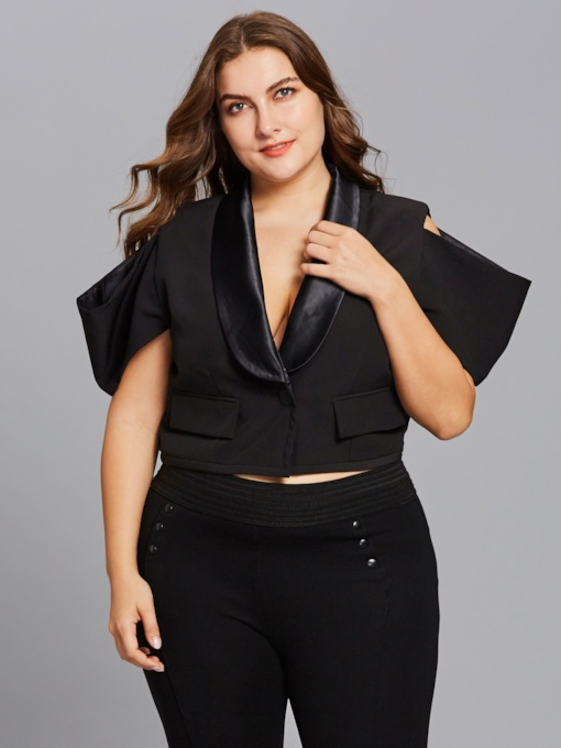 Plus Size One Button Hollow Women's Blazer