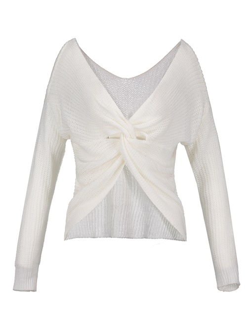 Backless Pleated V-Neck Pullover Loose Women's Sweater