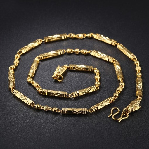 18K Gold Plated Bronze Luxurious African Men's Necklace