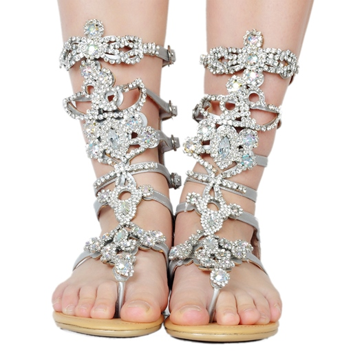 Thong Buckle Rhinestone Sliver Sandals Women's