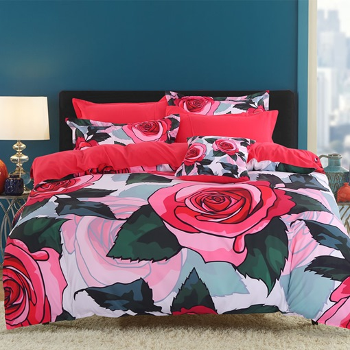 Red Roses and Green Leaves Pattern 4-Piece Cotton Bedding Sets/Duvet Covers