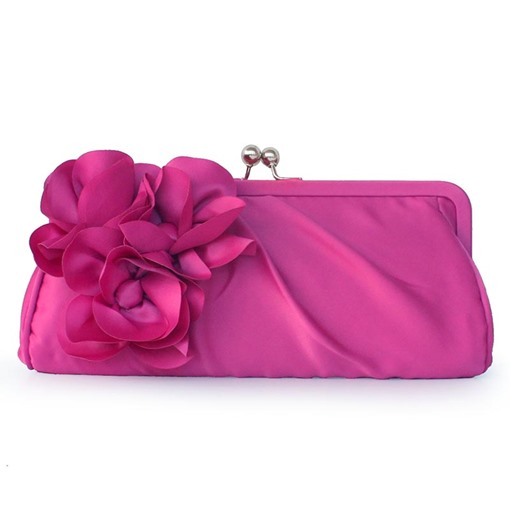 Elegant Floral Decoration Solid Color Clutch