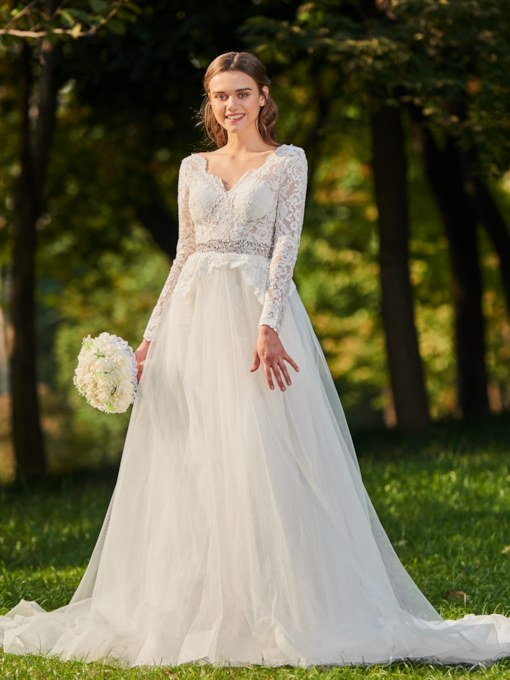 V-Neck Lace Long Sleeves Wedding Dress