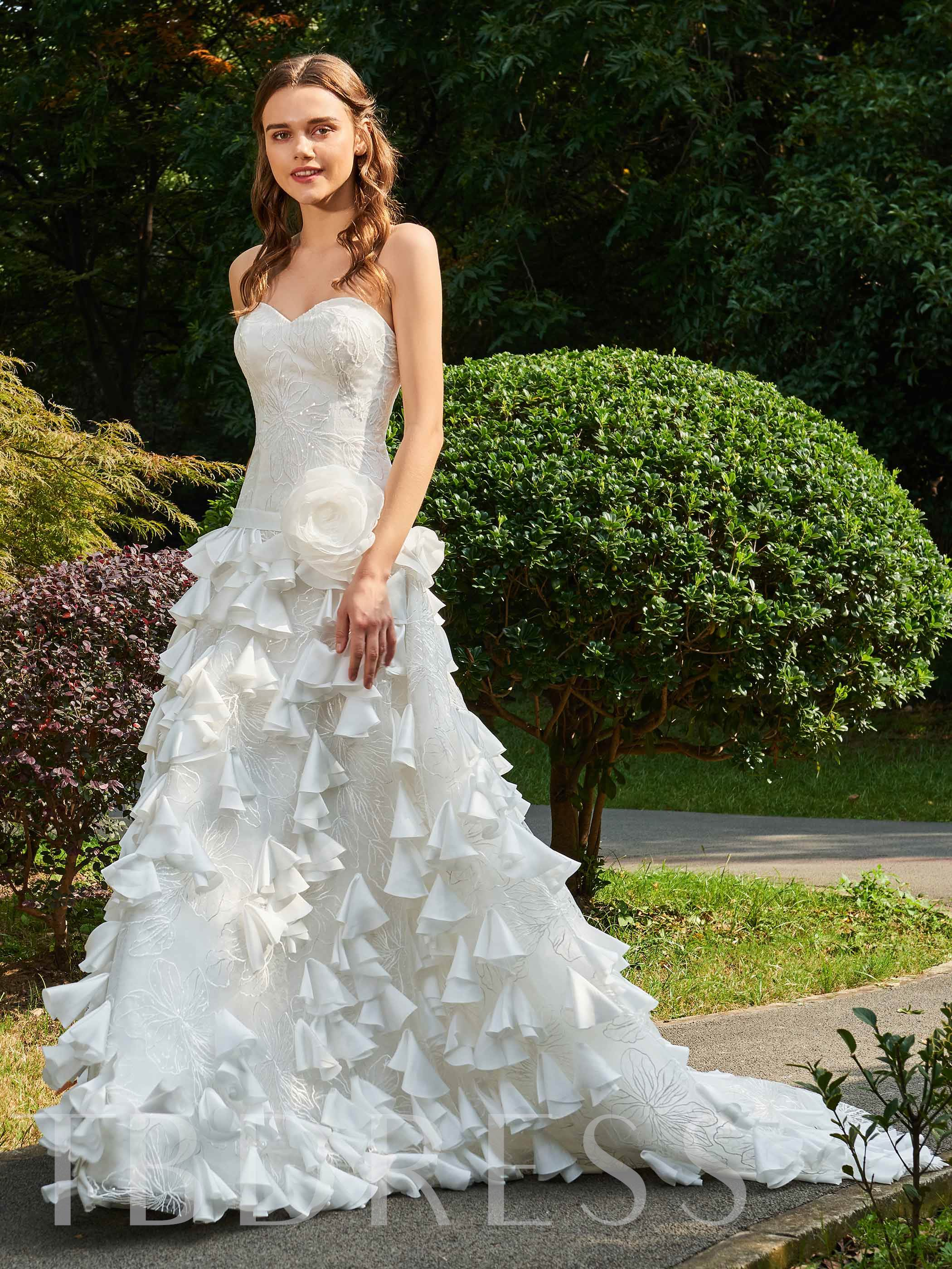 Image of Flowers Lace Strapless Wedding Dress