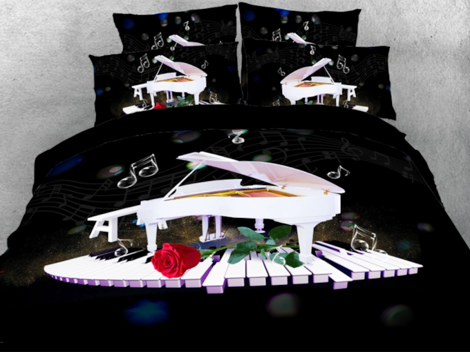 White Piano Dancing on Keyboard with Red Rose 3D 4-Piece Bedding Sets/Duvet Covers