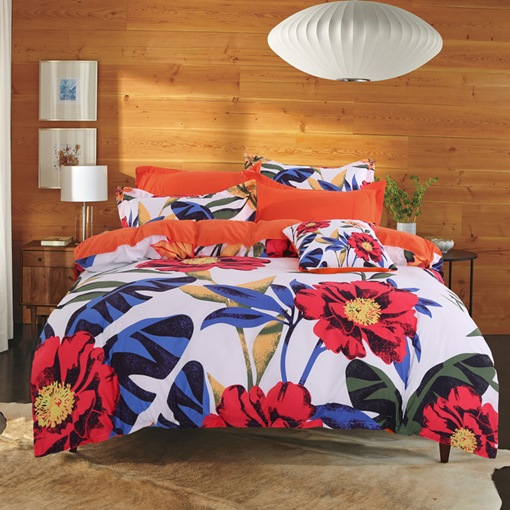Orange Cosmos Flowers Pastoral Style Cotton 4-Piece Bedding Sets