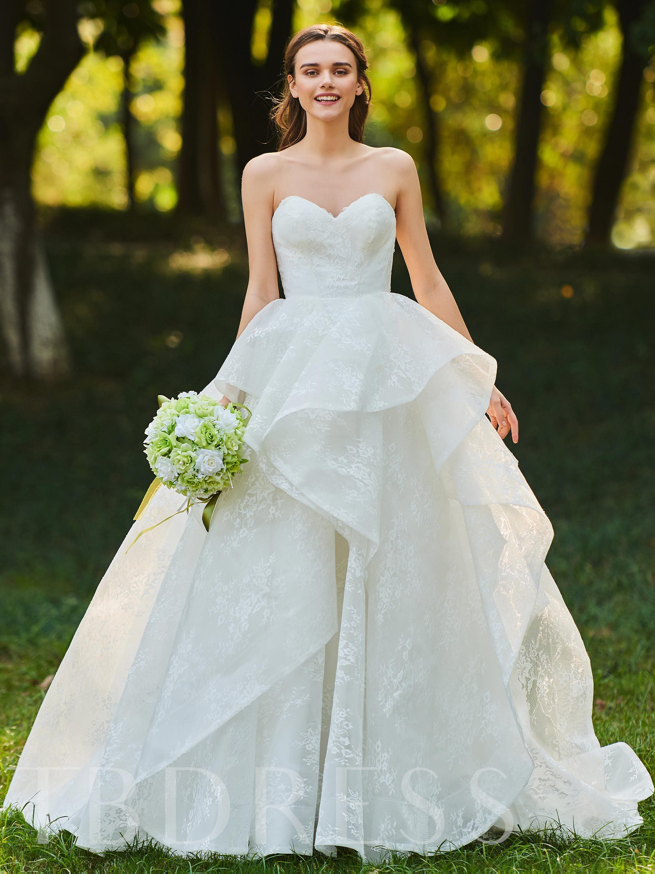 Image of Ball Gown Sweetheart Tiered Lace Wedding Dress