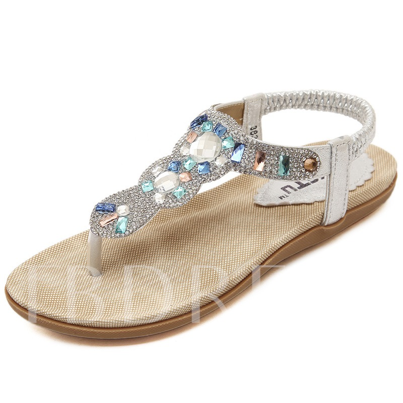 Rhinestone Elastics Thong Ladies Flat Sandals