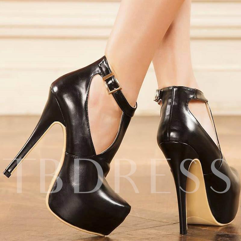 T Shaped Buckle Black Platform Pumps for Women