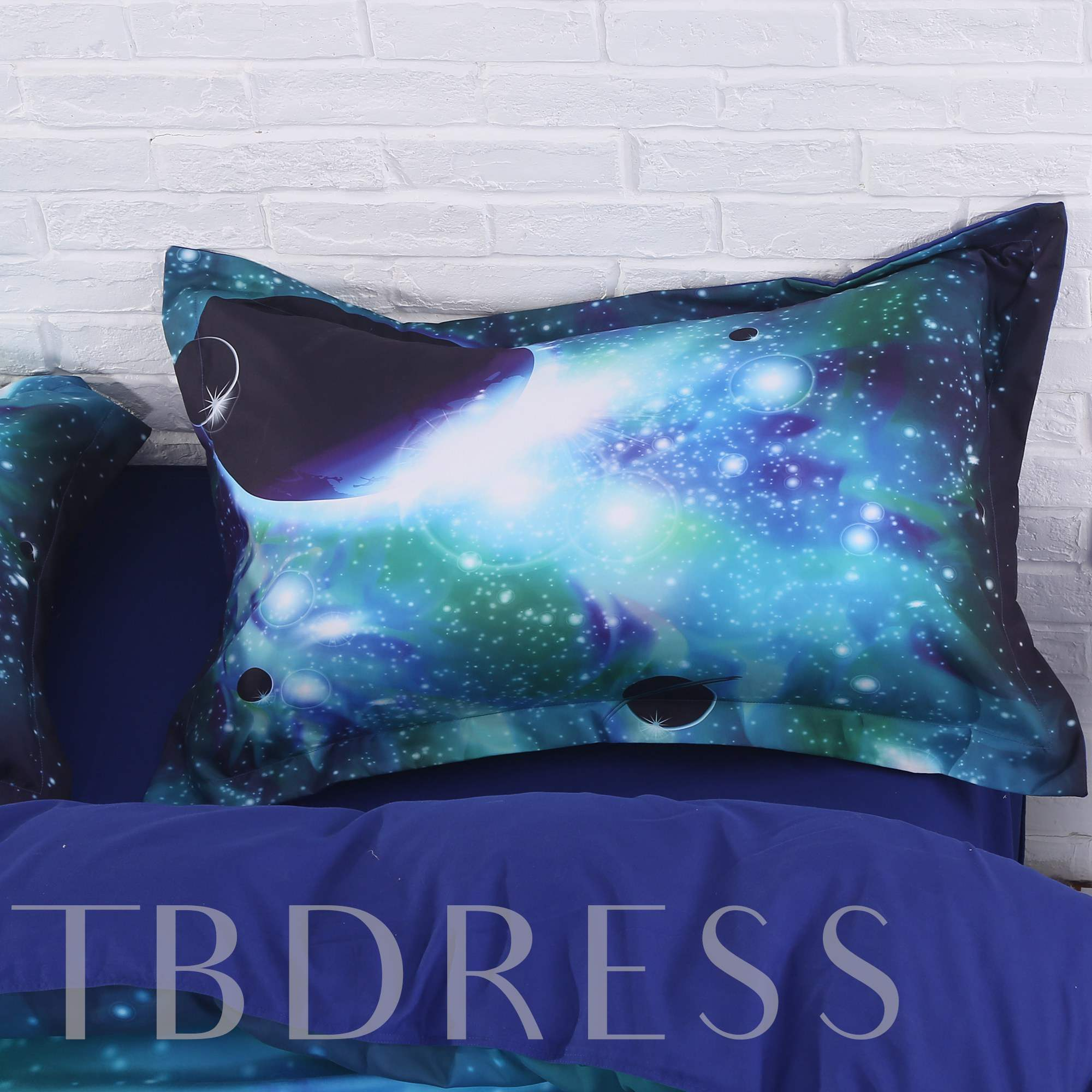 Galaxy and Celestial Body Printed 4-Piece 3D Green Bedding Sets/Duvet Covers