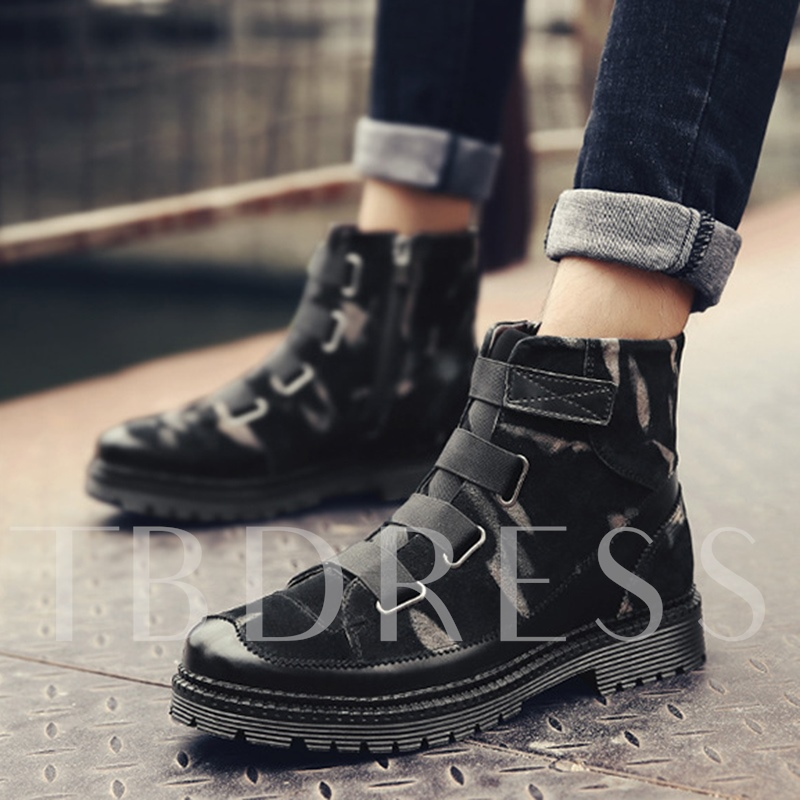 Camouflage Zipper High Top Outdoor Shoes Winter Boots