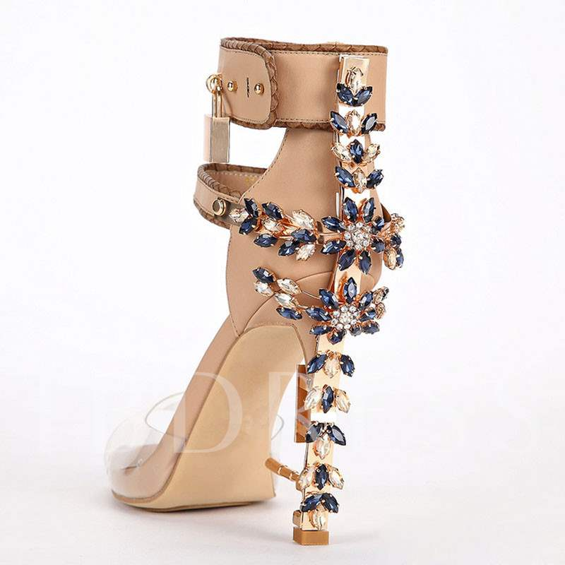 Sequins Buckle Patchwork Peep Toe Rhinestone Women's Sandals