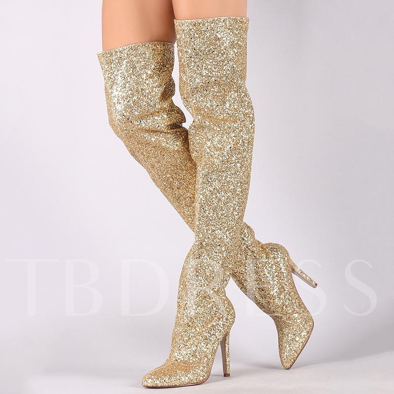 Buy Golden Sequin Slimmer High Heel Thigh High Boots, Sheshoe, Fall,Winter, 13086316 for $113.99 in TBDress store