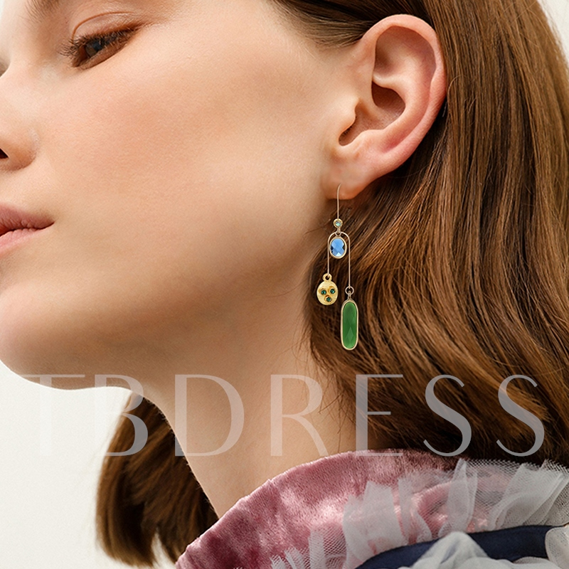 Colorful Synthetic Stones Simple Multilayer Earrings