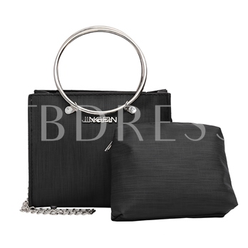 Circular Ring Handle Solid Color Bag Set (2 Bag Set)