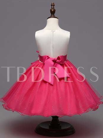 Flower Embroidery Lace Girls Party Dress