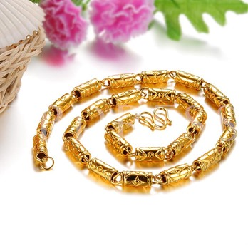 Bamboo Chain 18K Gold Plated Religion African Men's Necklace