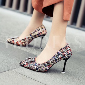 Knit High Heel Color Block Pumps Ladies