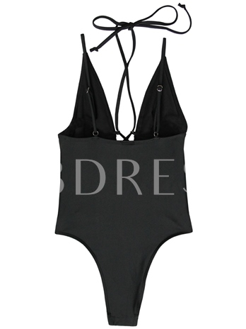 Deep V-Neck Hollow Bandage One-Piece Swimsuit
