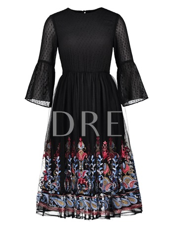 Bell Sleeve Tiered Printing Women's Day Dress